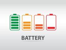Icona semplice della batteria con il livello variopinto della tassa Immagini Stock