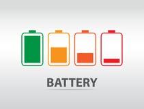 Icona semplice della batteria con il livello variopinto della tassa Fotografia Stock Libera da Diritti
