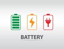 Icona semplice della batteria con il livello variopinto della tassa Immagine Stock Libera da Diritti