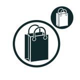 Icona semplice di colore di vettore del sacchetto della spesa singola isolata sulla b bianca illustrazione vettoriale