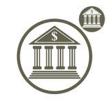 Icona semplice di colore di vettore della costruzione della Banca singola isolata su bianco royalty illustrazione gratis