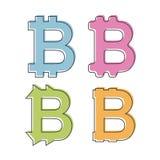 Icona semplice e piana del bitcoin - logo Quattro variazioni Isolato su bianco Immagini Stock Libere da Diritti