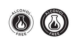 Icona senza alcool per il prodotto cosmetico di cura del corpo e della pelle Simbolo senza alcool della fiala di vettore illustrazione vettoriale