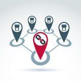 Icona simbolica collegata delle torri, località collegate Fotografia Stock Libera da Diritti