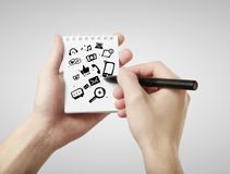 Icona sociale di media nella nota Fotografia Stock