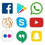 Icona sociale di media per Facebook, Whatsapp, Skype, Youtube, Snapchat, ritrovo royalty illustrazione gratis