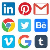 Icona sociale di media per Linkedin, Pinterest, Gmail, Chrome, Google, Twitter, Behance, Vimeo, chiavetta illustrazione di stock