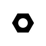 Icona solida del dado esagonale e della vite, riparazione di configurazione illustrazione di stock