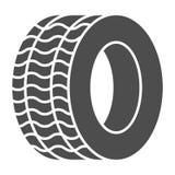 Icona solida della gomma Illustrazione di vettore della ruota dell'automobile isolata su bianco Progettazione di stile di glifo d illustrazione vettoriale