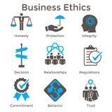 Icona solida di etiche imprenditoriali messa con onestà, integrità, Commitme royalty illustrazione gratis