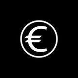 Icona solida, finanza ed affare dell'euro moneta Fotografia Stock Libera da Diritti