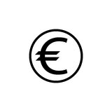 Icona solida, finanza ed affare dell'euro moneta Immagine Stock Libera da Diritti