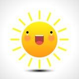 Icona sorridente felice del sole di estate Fotografie Stock