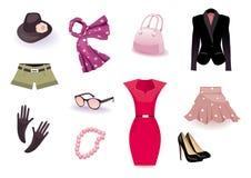Icona stabilita di vettore dei vestiti e degli accessori Fotografie Stock