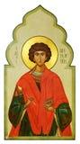 Icona su legno del san Pantaleon (Panteleimon) Fotografie Stock Libere da Diritti