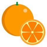 Icona succosa fresca arancio degli agrumi, illustrazione di vettore Fotografia Stock Libera da Diritti