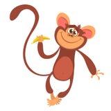 Icona sveglia del carattere della scimmia del fumetto Illustrazione di vettore fotografie stock