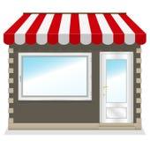 Icona sveglia del negozio con le tende rosse. Fotografia Stock