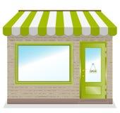 Icona sveglia del negozio con le tende verdi. Immagini Stock Libere da Diritti