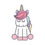 Icona sveglia dell'unicorno di fantasia royalty illustrazione gratis