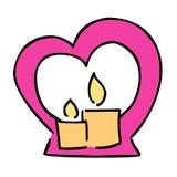 Icona sveglia di vettore di colore di giorno di biglietti di S. Valentino della candela illustrazione vettoriale