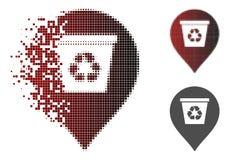Icona tagliuzzata di Dot Halftone Recycle Bin Marker Illustrazione di Stock