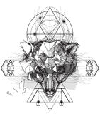 Icona triangolare della testa animale dell'orso illustrazione vettoriale