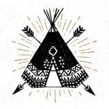 Icona tribale disegnata a mano con un'illustrazione strutturata di vettore di tepee Fotografie Stock