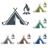 Icona turistica della tenda illustrazione di stock