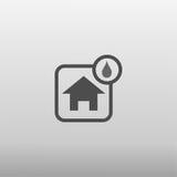 Icona umida della casa Fotografia Stock