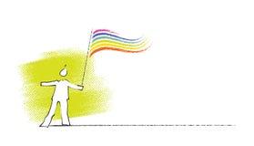 Icona - uomo che tiene una Rainbow-bandierina Immagini Stock