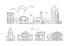 Icona urbana delle costruzioni Simboli lineari di vettore suburbano esteriore della villa dei saloni delle Camere isolati illustrazione vettoriale