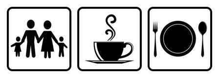 Icona utile per il ristorante Icona della caffetteria, icona permessa alimento, icona dei membri della famiglia che disegna trami royalty illustrazione gratis