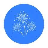 Icona variopinta dei fuochi d'artificio nello stile nero isolata su fondo bianco Illustrazione di vettore delle azione di simbolo Fotografia Stock