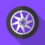 Icona variopinta del pneumatico e della ruota nello stile piano moderno con ombra lunga Parti dell'automobile Fotografie Stock