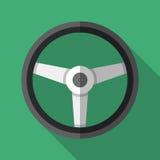 Icona variopinta del volante nello stile piano moderno con ombra lunga Parti dell'automobile Fotografie Stock