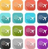Icona variopinta di viaggio e dell'aeroplano royalty illustrazione gratis