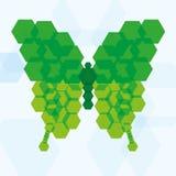 Icona verde astratta della farfalla di vettore isolata Fotografia Stock Libera da Diritti