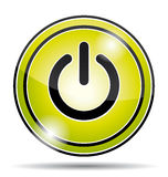 Icona verde del bottone di corrente elettrica Immagine Stock