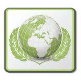 Icona verde del globo   Immagini Stock