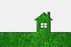 Icona verde della casa di eco Fotografie Stock
