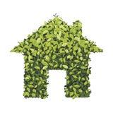Icona verde della casa di economia, su fondo bianco, vettore i Illustrazione di Stock