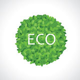 Icona verde della sfera di eco fatta dei fogli Illustrazione Vettoriale