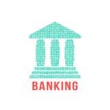 Icona verde di attività bancarie dai punti differenti illustrazione di stock