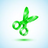 Icona verde di forbici Immagini Stock Libere da Diritti