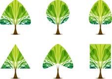 Icona verde stabilita dell'albero con forma differente della corona illustrazione vettoriale