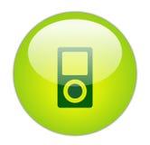 Icona verde vetrosa del giocatore di musica Fotografie Stock