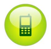 Icona verde vetrosa del telefono mobile Fotografie Stock Libere da Diritti