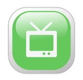 Icona verde vetrosa della televisione Fotografia Stock