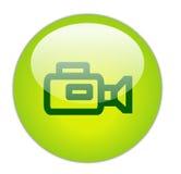 Icona verde vetrosa della videocamera Immagine Stock